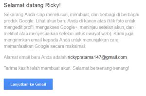 Pembuatan email baru Google selesai