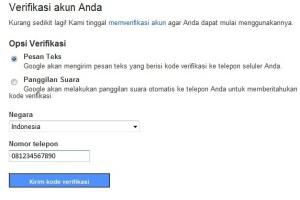 Verifikasi email baru Google